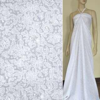 Батист Девора білий тюльпани ш.140