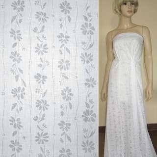 Батист белый деворе с вьющимися цветы ш.150