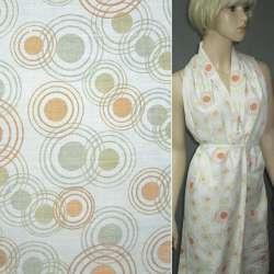 Батист білий в оранжево-зелені кола ш.150