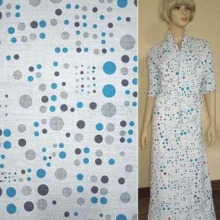 Батист белый в серо голубые круги ш.150