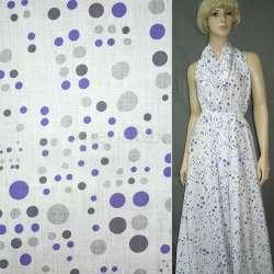 Батист білий в сіро-фіолетові кола ш.150
