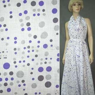 Батист белый в серо фиолетовые круги ш.150