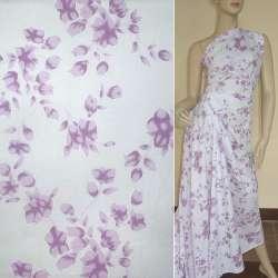 Батист білий в бузкові квіти ш.150