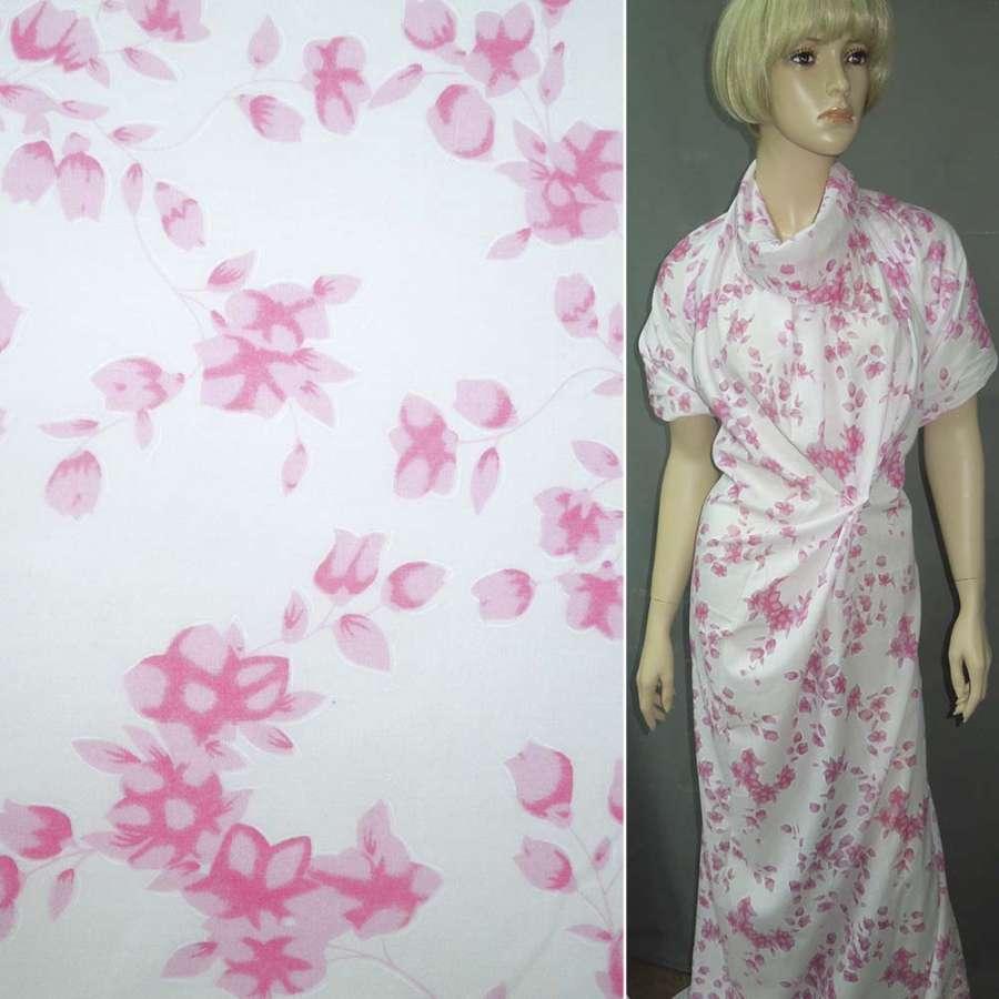 Батист белый в розовые цветы ш.150
