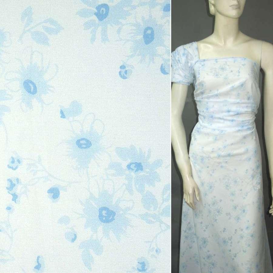 Батист белый с голубыми цветами ш.145