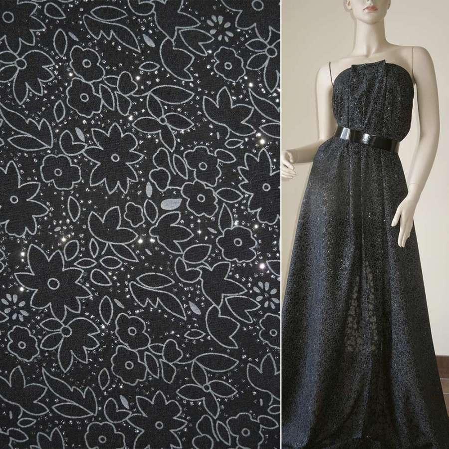 Батист черный с цветами деворе и блестками ш150