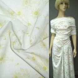Батист деворе белый с желтыми цветами ш.150