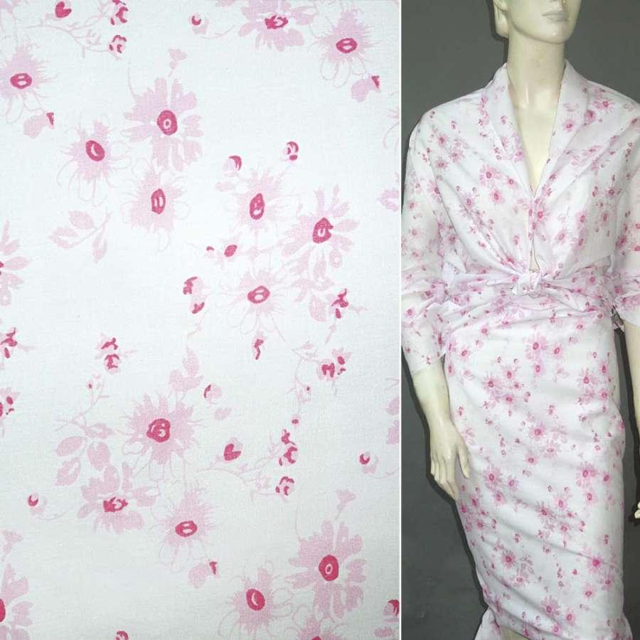 Батист деворе белый с розовыми цветами ш.150