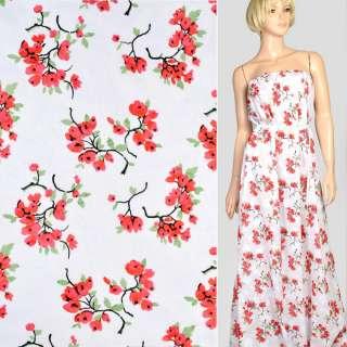 Батист деворе білий в червоно-рожеві квіткові гілки, ш.140