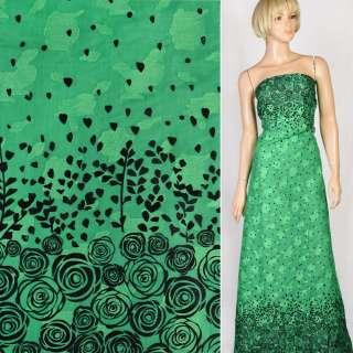 Батист деворе зелений в чорні троянди купон, ш.140