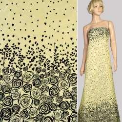 Батист деворе желтый светлый в черные розы купон, ш.140