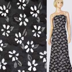 Батист деворе черный в белые цветы, ш.140