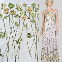 Батист деворе купон белый в розы на длинном стебле, ш.140