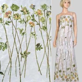 Батист деворе купон білий в троянди на довгому стеблі, ш.140