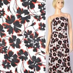 Батист деворе белый в черно-красные цветы, ш.140