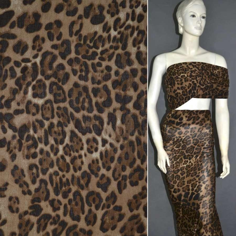 Батист диллон коричневый с черным принт леопард ш.140