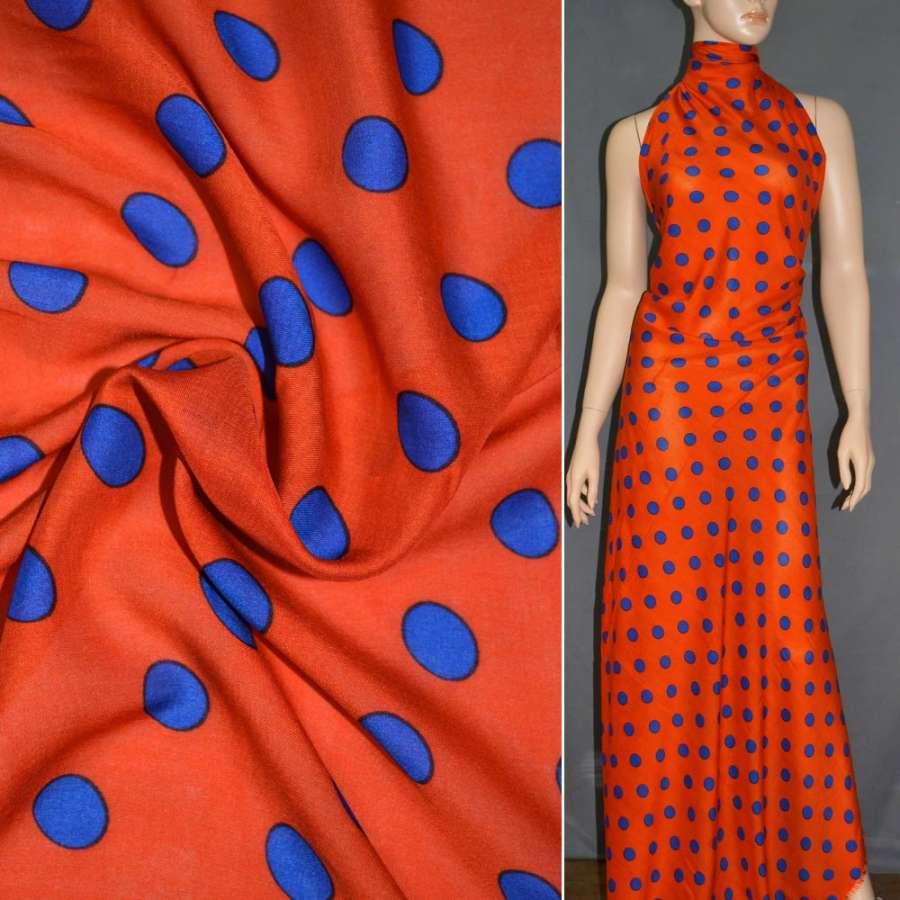 Батист диллон тициановый (оранжево-красный) с синими кругами ш.140