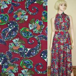 Батист диллон вишневый с зелено-синими завитками и цветами ш.140