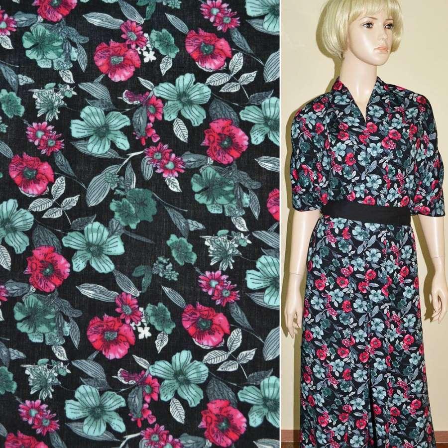 Батист диллон черный с красно серыми цветами ш.140