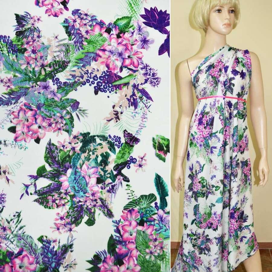 Батист диллон белый с розово фиолетовыми цветами ш.140