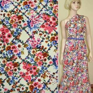 Батист диллон кремовый с розово-синими цветами ш.140