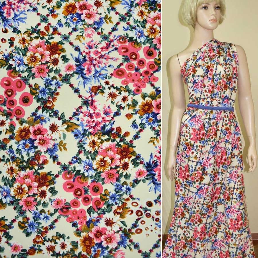 Батист Діллон кремовий з рожево-синіми квітами ш.140