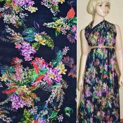 Батист диллон темно-синий с розовыми цветами ш.142
