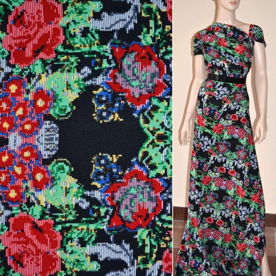 Батист диллон черный с красно-серыми графическими цветами ш.140