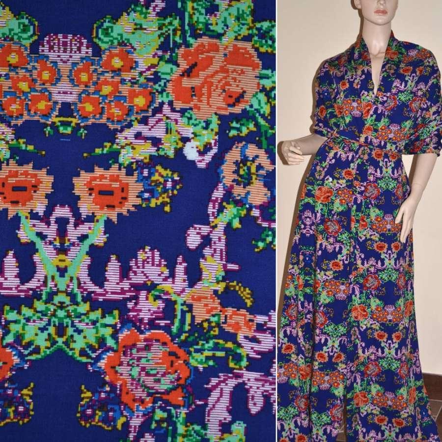Батист диллон синий с оранжевыми зелеными графическими цветами ш.140