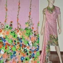 Батист диллон серо-розовый,двухсторонний купон салатовые цветы ш.140