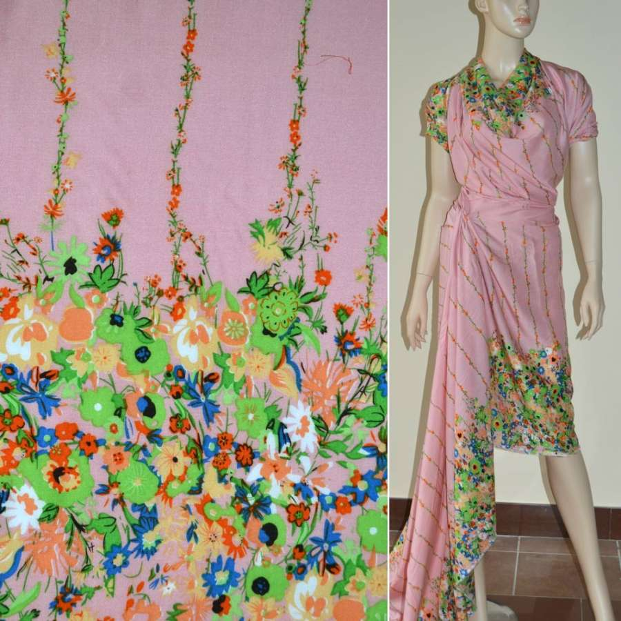 Батист диллон серо розовый,двухсторонний купон салатовые цветы ш.140
