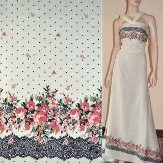 Батист диллон кремовый с двухсторонним купоном в цветы и мелкий горох ш.140