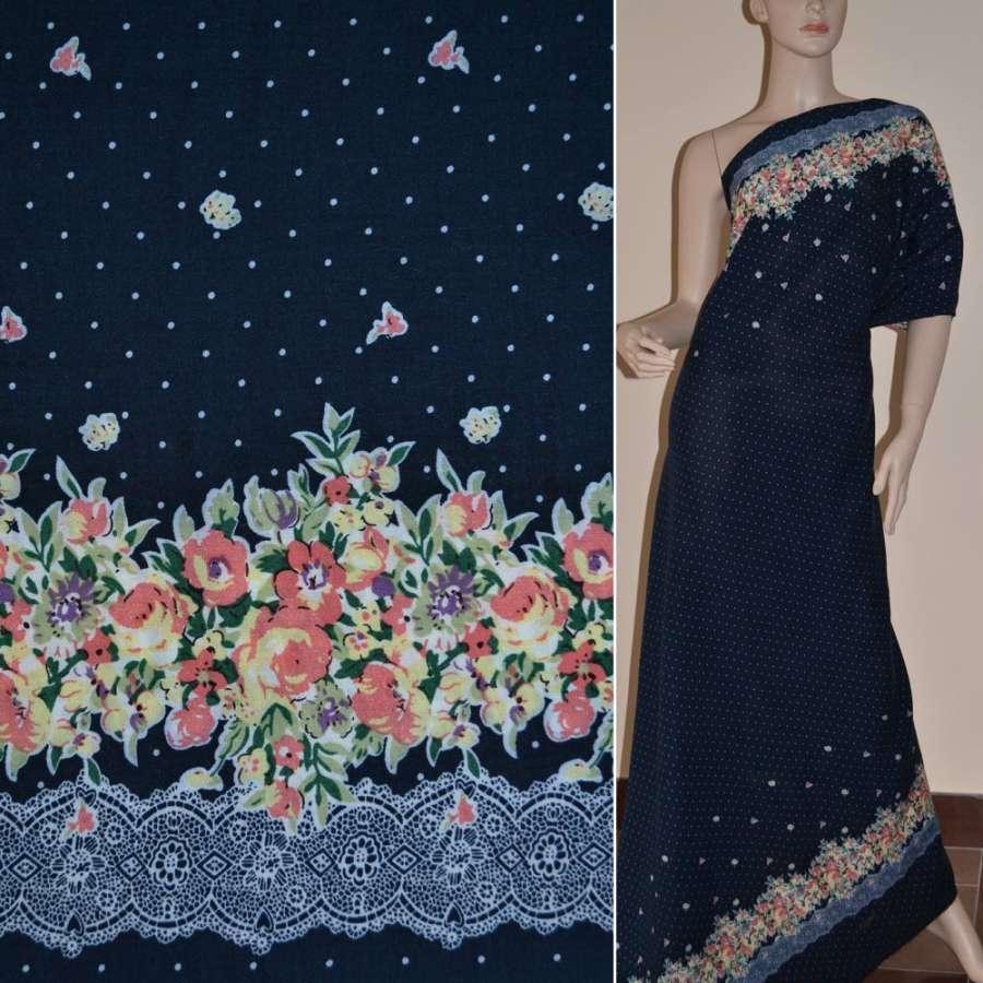 Батист диллон темно синий с двухсторонним купоном в цветы и мелкий горох ш