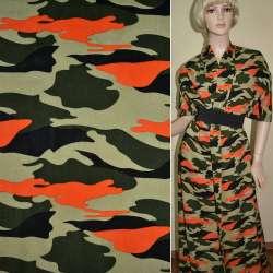Батист диллон зелено-черный оранжевый камуфляж ш.140
