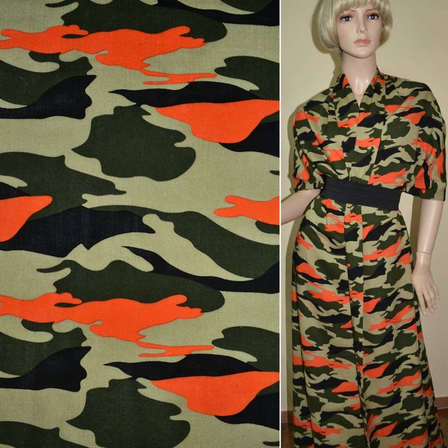 Батист диллон зелено черный оранжевый камуфляж ш.140