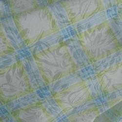Батист белый в салатово-голубую клетку ш.140