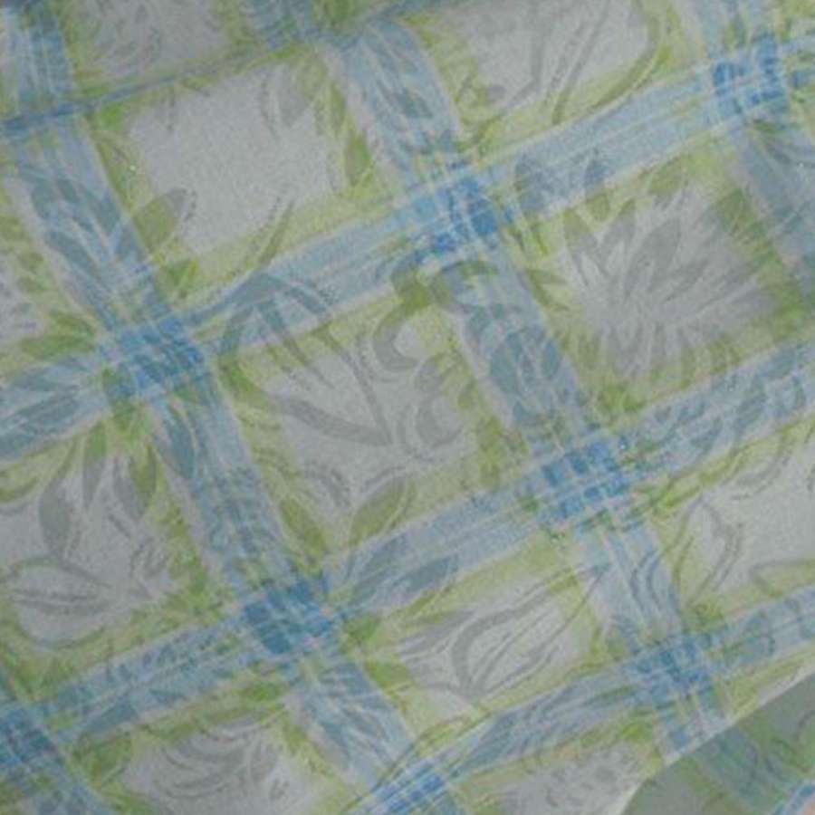 Батист белый в салатово голубую клетку ш.140