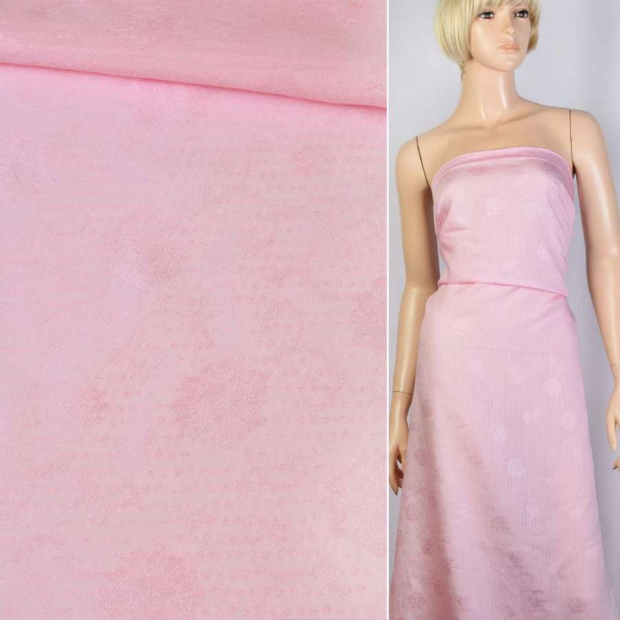 Батист-жаккард розовый в полоски, цветы ш.150