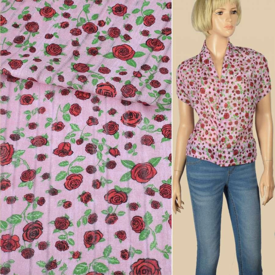 Батист с мережкой розовый в красные розы с зелеными листьями, ш.140