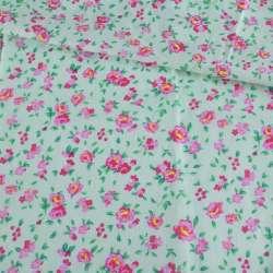 Батист мятный в розово-желтые розы, ш.140