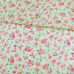 Батист кремовий в рожево-жовті троянди, ш.140