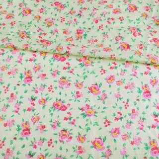 Батист кремовый в розово-желтые розы, ш.140