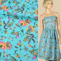 Батист блакитний, рожево-жовті квіти, кучеряві гілки, ш.140