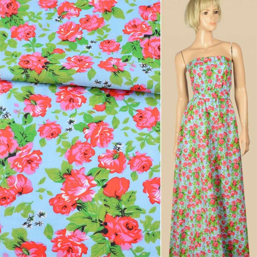Батист голубой в красно-розовые розы, зеленые листья, ш.140