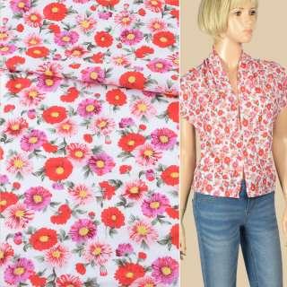 Батист белый в красные, розовые, сиреневые цветы, ш.140