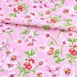 Батист рожевий в біло-рожеві квіти, зелені гілки, ш.140