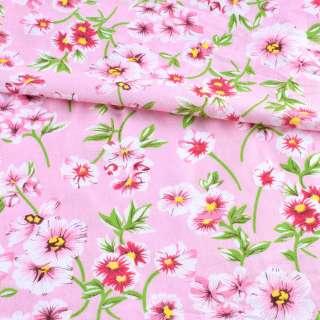 Батист розовый в бело-розовые цветы, зеленые ветки, ш.140