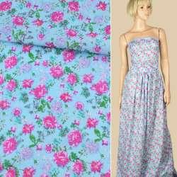 Батист блакитний в малинові троянди, ш.140