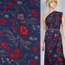 Батист синий в бордово-бежевые цветы ш.146