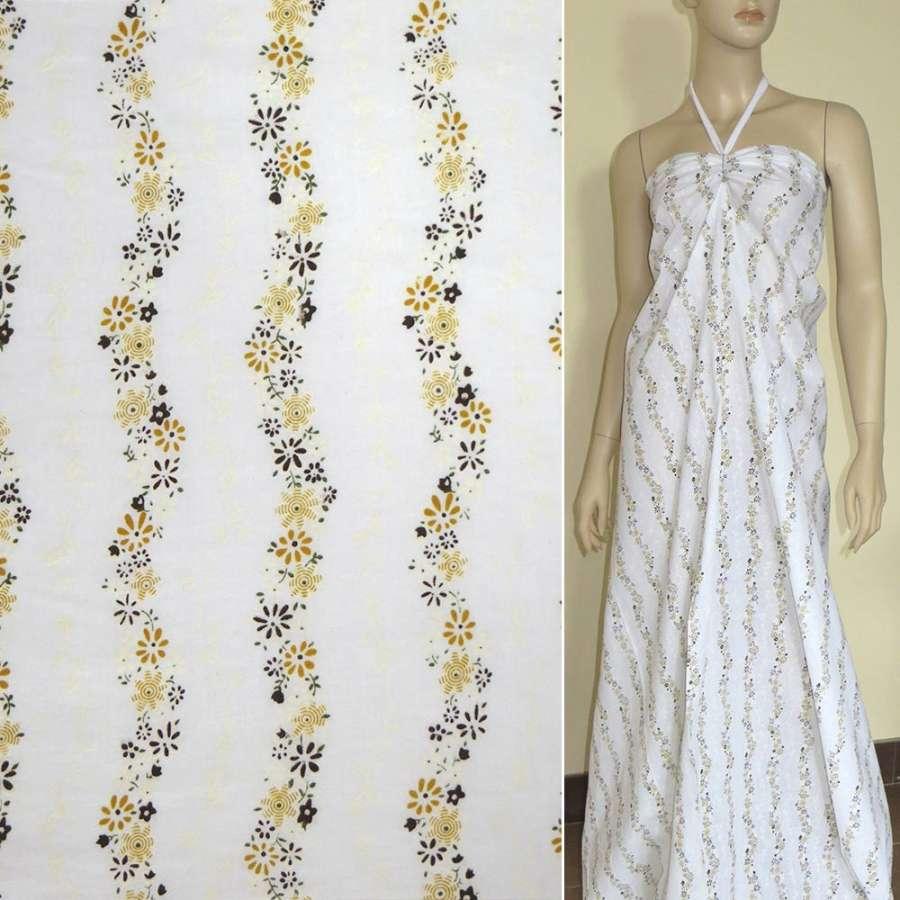 Батист белый с вьющемися коричнево-бежевыми цветами ш.140